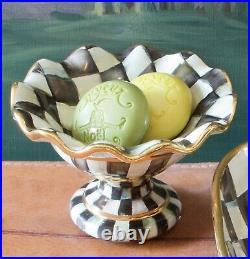 MacKenzie-Childs Courtly Check Ceramic Mini Compote RARE