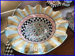 MacKenzie Childs Odd Fellows Taylor Fluted Rim Pedestal Compote Bowl