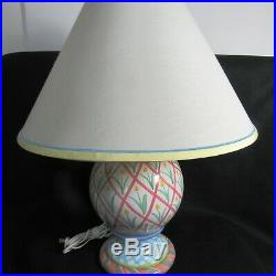 Mackenzie Childs 25 Art Pottery Large Table Lamp WithFinial 1991 Tulips Stripes