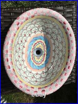 Mackenzie Childs Ceramic Hand Painted Sink Stokes Gabriel Rare