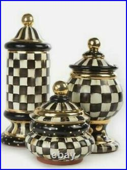 Mackenzie Childs Courtly Check Groovy Globe Canister. NEW