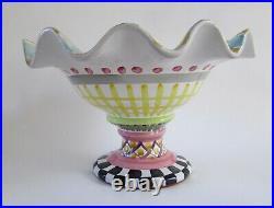 Mackenzie Childs Odd Fellows Fluted Display Pedestal Bowl
