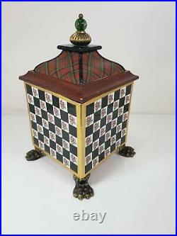 Mackenzie Childs Torquay Rose Check Medium Ceramic Footed Cannister Lidded Box