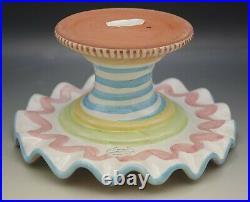 Mackenzie Childs Wallcourt Ceramic Pink Check Stripe Pedestal Fluted Cake Stand