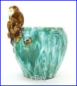 Majolica Ceramic Art Pottery Monkey Jardiniere Planter