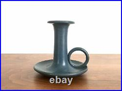 Marblehead Pottery Blue Candlestick with Ring Loop Arts and Crafts Pottery