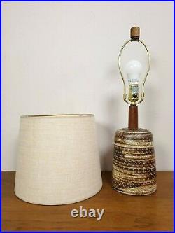 Marshall Studios MARTZ Walnut Ceramic Stoneware Clay Art Pottery Lamp with Shade