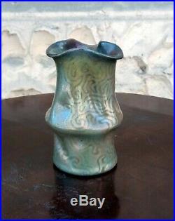 Massier, Clément MASSIER Art Nouveau vase iridescent Tiffany volute decoration