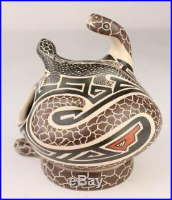 Mata Ortiz Pottery Jorge Corona Snake Lizard Base Mexican Fine Folk Art Ceramics