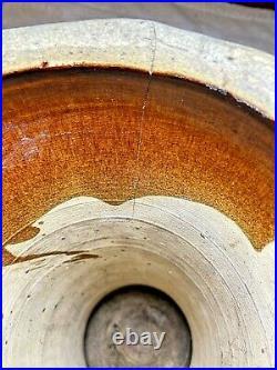 McCoy Pottery Basket weave Jardiniere planter pedestal green brown glaze 13