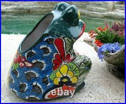 Mexican Art Talavera Pottery Ceramic Frog Figure Planter Flower Pot Lg 16
