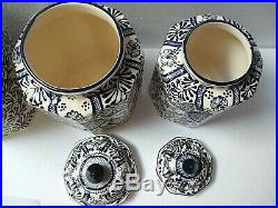 Mexican Art Talavera Pottery Ceramic Kitchen Canister Set Blue Cookie Jar