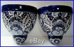Mexican Art Talavera Pottery Ceramic Wall Planter Pocket Sconce Pair Blue 12