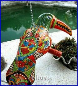 Mexican Art Talavera Pottery Hanging Bird Parrot Toucan Figure Ceramic Xlg 22