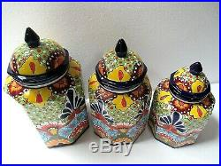 Mexican Art Ulises Puebla Talavera Pottery Ceramic Kitchen Canister Set
