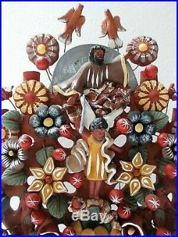 Mexican Folk Art Metepec Pottery Ceramic Arbol de Vida Tree of Life Adam Eve 17