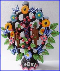 Mexican Folk Art Metepec Pottery Ceramic Arbol de Vida Tree of Life Adam Eve 20