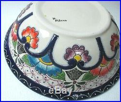 Mexican Folk Art Rare Talavera Pottery Ceramic Sink Size Bowl Water Pitcher Set