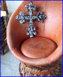 Mexican Folk Art Talavera Pottery Ceramic 3D Wall Cross Blue X Large 20
