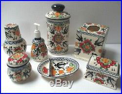 Mexican Folk Art Talavera Pottery Ceramic Blue Bird Bath Soap Canister Set