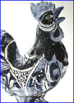 Mexican Folk Art Talavera Pottery Ceramic Rooster Chicken Figure XLG 19
