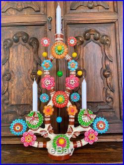Mexican Folk Art Tree of Life LARGE! Pottery Ceramic Candlelabara 19 TALL