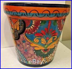 Mexican Pottery Talavera Planter Folk Art 16 XX Large Pot Ceramic