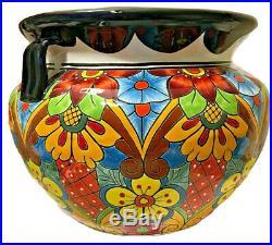 Mexican Talavera Ceramic Planter 21x 14 Pot Extra Large Bean Pottery Folk Art