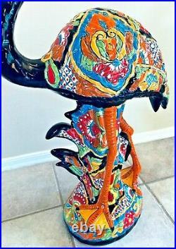 Mexican Talavera Flamingo Bird Pottery Large 31 Figure Blue Folk Art Ceramic