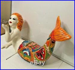 Mexican Talavera Mermaid Pottery Statue Fish Sea Figure Folk Art Ceramic XL 22
