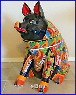 Mexican Talavera Pig Figure Statue XXX Large 27 Ceramic Pottery Art Farm Animal