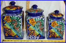 Mexican Talavera Pottery Canister Set Bold Blue Ceramic Large Cookie Folk Art