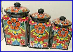 Mexican Talavera Pottery Canister Set Kitchen Ceramic Large Cookie Jar Folk Art