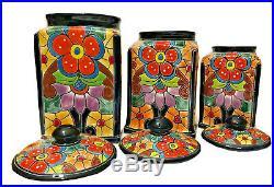 Mexican Talavera Pottery Canister Set Kitchen Ceramic Large Cookie Jar Folk Art