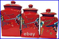 Mexican Talavera Pottery Canister Set Red Ceramic Large Cookie Jar Folk Art