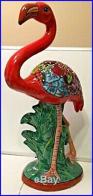 Mexican Talavera Pottery Flamingo Figure Statue Folk Art Ceramic Bird Large 27