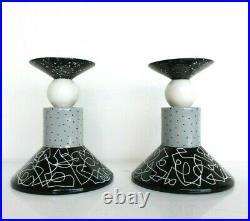 Michael Duvall Postmodern Memphis Milano Ceramic Pottery Candlesticks 80s Art
