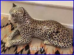 Mid Century 60s Italian Ceramic Leopard Statue
