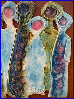 Mid Century Figural Tiles Artwork Signed by Unknown Artist