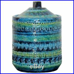 Mid Century Modern Blue Green Ceramic Lidded Art Vessel Bitossi Italian 1970s