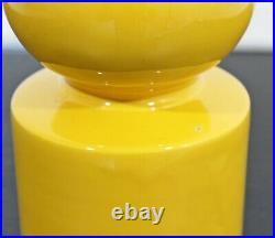 Mid Century Modern Ceramic Pop Art Vase Table Sculpture Yellow 1960s
