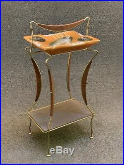 Mid Century Modern Gold Tone Wire & Art Pottery Smoke Stand Drink Ashtray Table