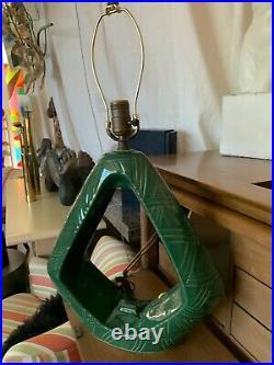 Mid Century Modern Green Glaze Ceramic Art Pottery Table Lamp