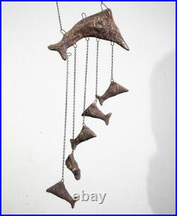 Mid Century Modern Wind Chime Artisan Ceramic Fish Hanging Vintage Pottery Art