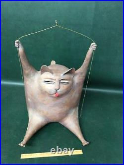 Mid Century Modernist ART POTTERY Large Hanging Fat Cat Signed Sculpture dB