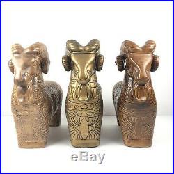 Mid Century Vintage Art Pottery Ceramic Rams / Aldo Londi Bitossi Inspired c. 60s