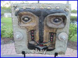 Miguel Cubiles Original Signed Sculpture Cuban Mexican Art Ceramic Pottery Mask