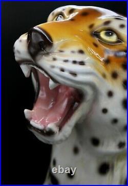 Monumental Italian Ceramic Leopard Statue