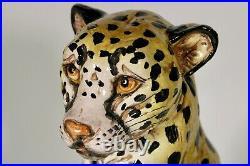 Monumental Mid 20th Century Italian Terra Cotta Ceramic Leopard Statue