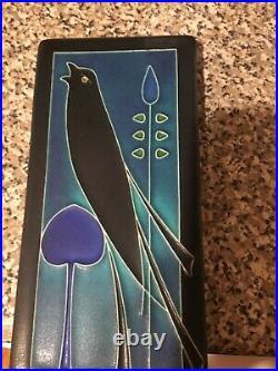 Motawi Tileworks Art Tile 8 x 4 Black Bird Blue Green Black Retired